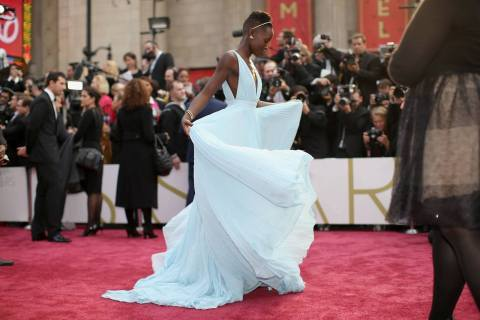 Lupita Nyong'o in a beutiful flowing light blue dress