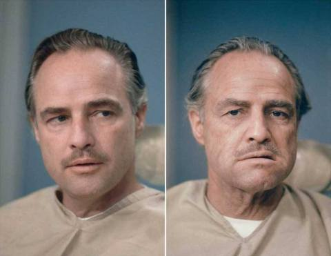 Marlon Brando before and after his Don Corleone makeup for The Godfather in 1973.