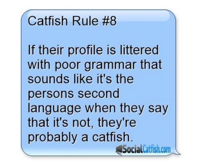 Cafish Rule  If Their Profile Is Littered With Bad Grammar Or They Could Just Be