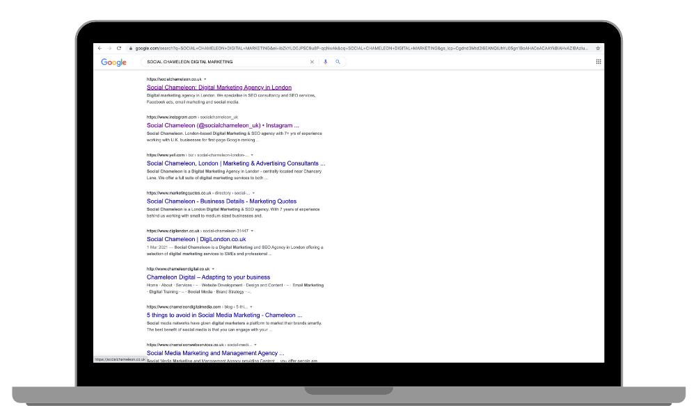 SEO Services London - Showing first page ranking on Google for Social Chameleon Digital Marketing