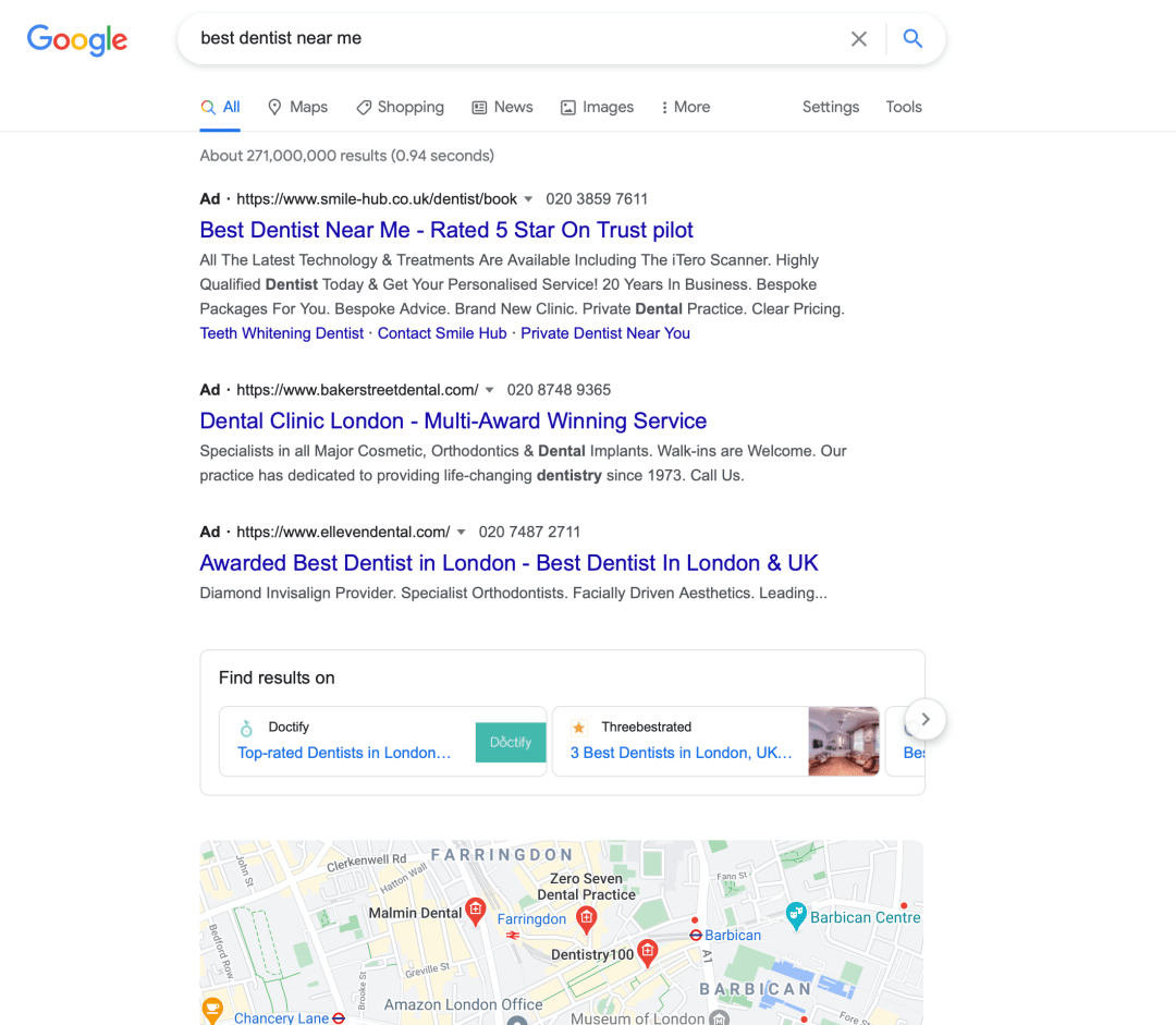 Google ads pay per click search results showing top three adverts