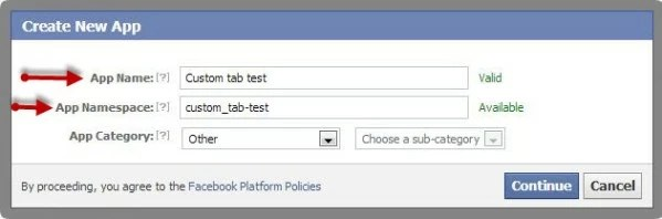 Name your tab - Facebook Custom Tab