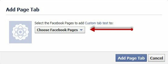 add to page - Facebook custom tab