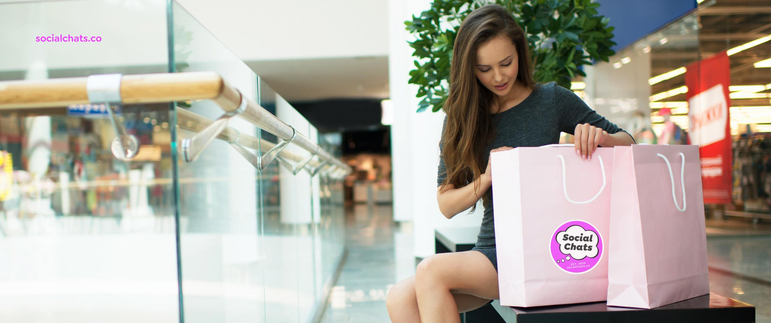 Woman shopping at an empty mall.