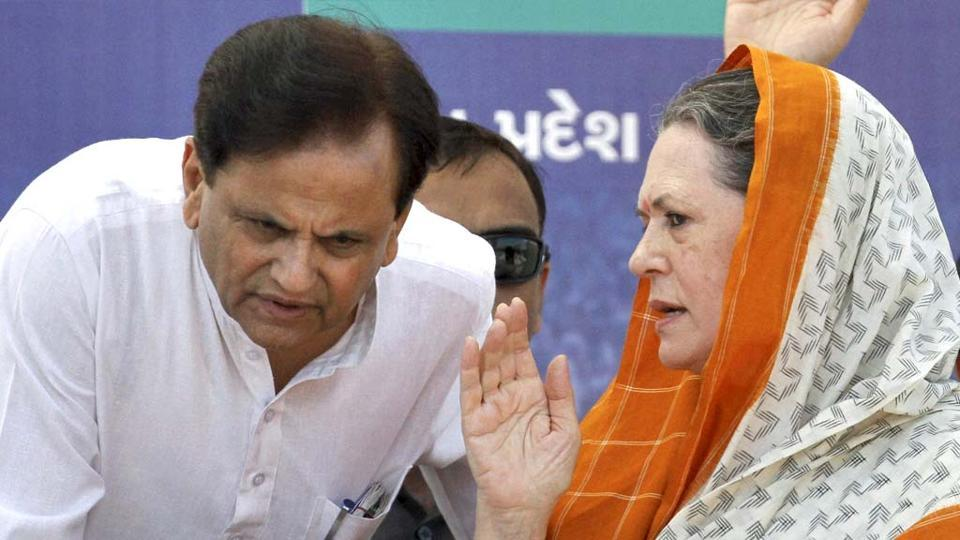 Sonia Gandhi and Ahmed Patel at a function in Gujarat