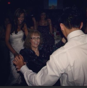 Here's Mum, cutting loose on the dance floor at our wedding.