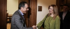 Meeting between the leader of the To Potami political party Stavros Theodorakis, with the leader of PASOK-Democratic Alliance, Fofi Genimata, in Athens, on March 31, 2016 / ????????? ??? ?????????? ??? ???????? ??????? ????????? ?? ??? ?????????? ??? ?????-??????????? ??????????? ???? ?????????,???? ?????, ???? 31 ???????, 2016