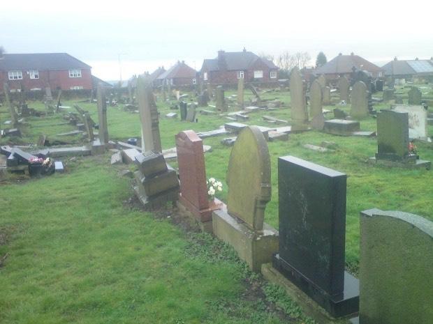Grave yard vandalism picture