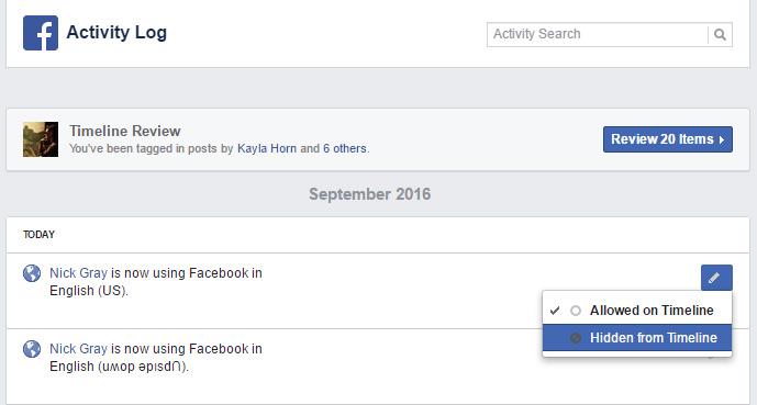 FB activity log
