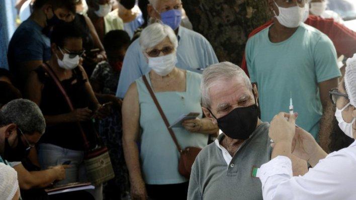 Elderly people receiving their jab in Brazil