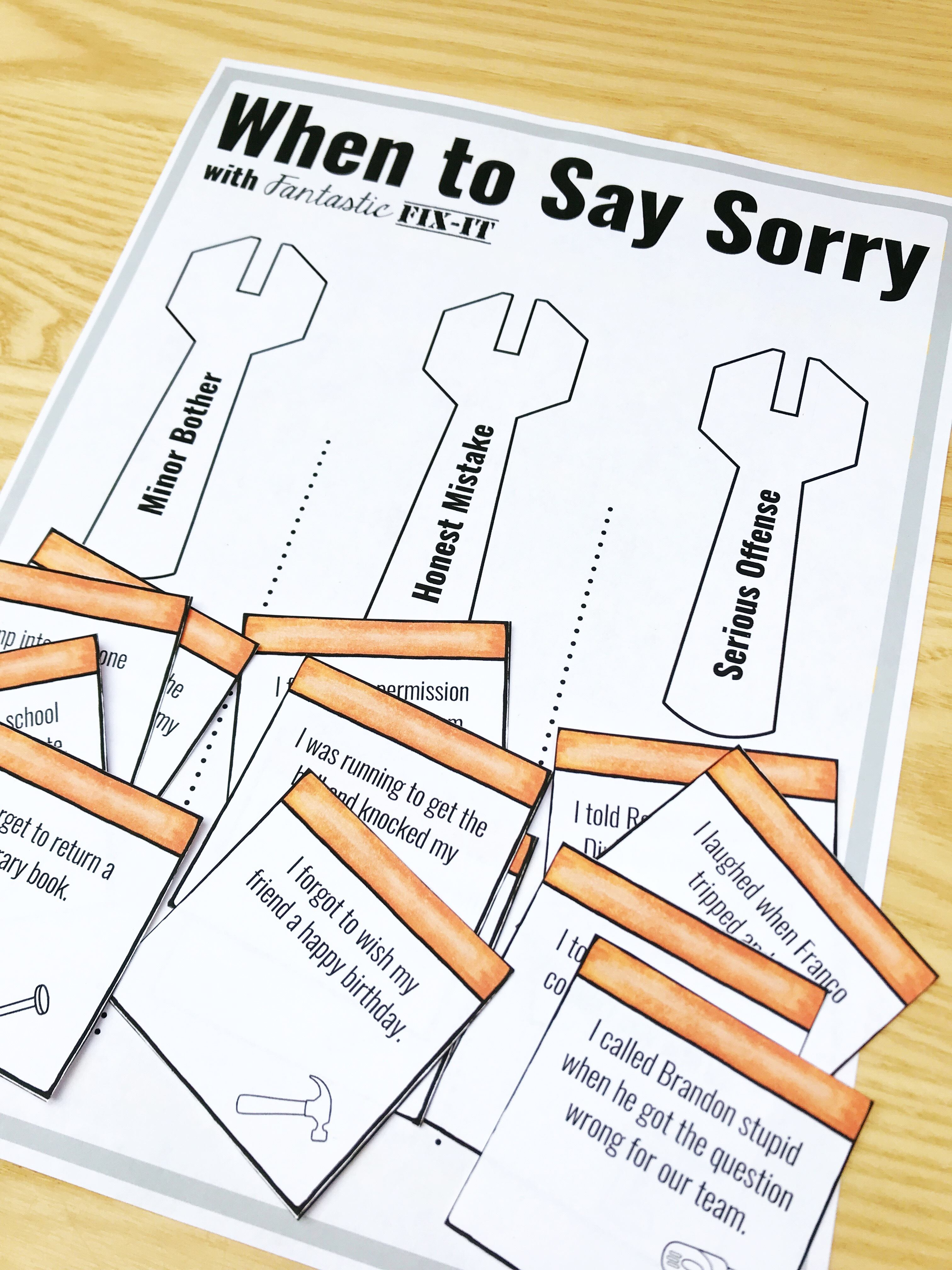 When to say sorry counseling activity