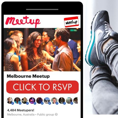 black iphone with app on phone screen showing red rsvp button to melbourne meetup events with seated shoes in background