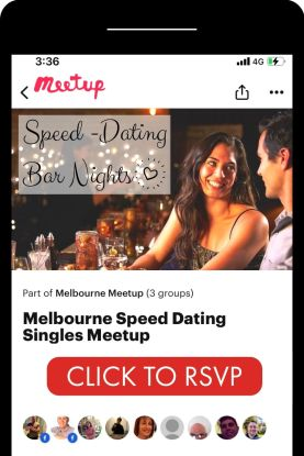black iphone with melbourne speed dating meetup app opened with couple dating