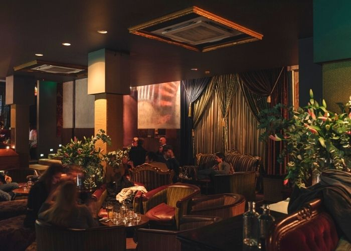inside softly lit venue of Gin Palace on Russell Place with brown leather couches and inside plants against ornate curtains