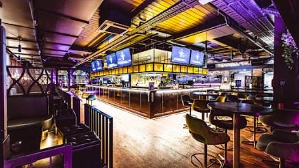 purple neon light in diesel bar event hire