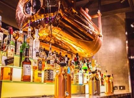 spirits wine and vodka at a bar
