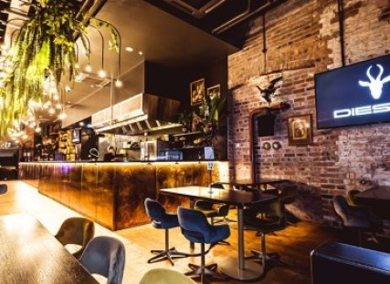 decretive bar with hanging plants and lighting