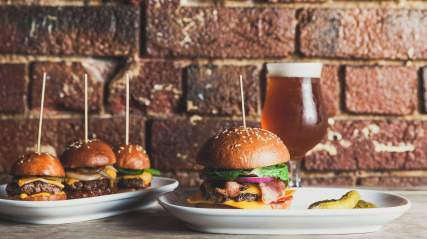 burger and pickles and three slider burger sliders from burger boys Melbourne cbd