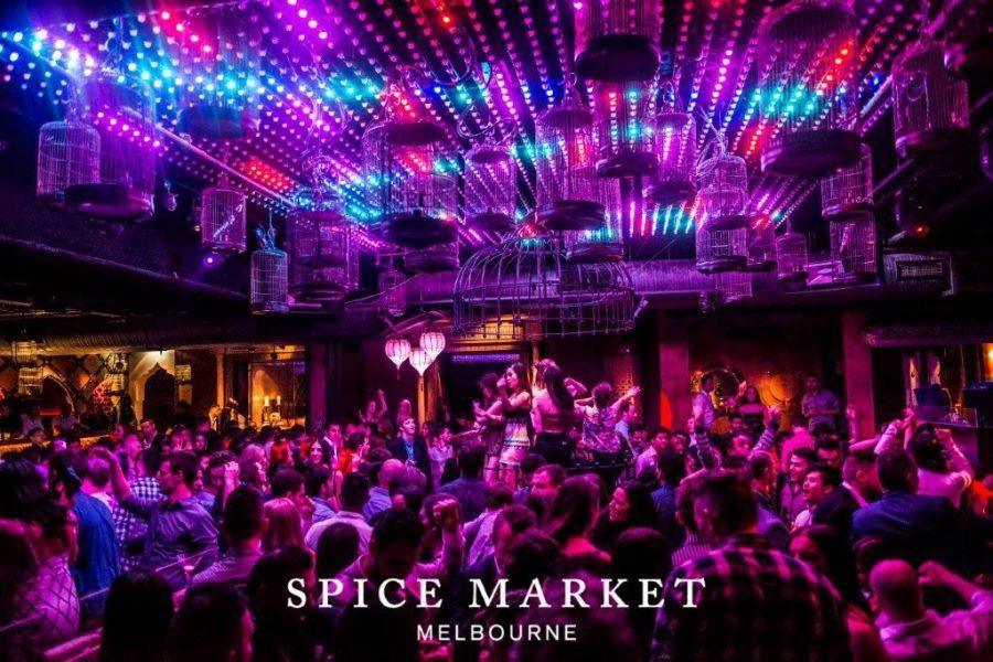 main dance floor under birdcage in spice market night club