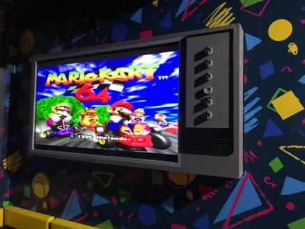 old tv with mario kart 64 playing from nintendo