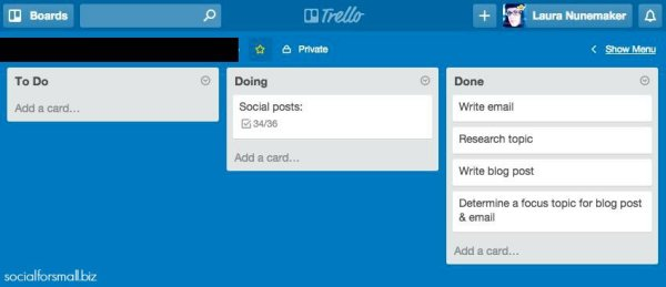 trello board screen shot