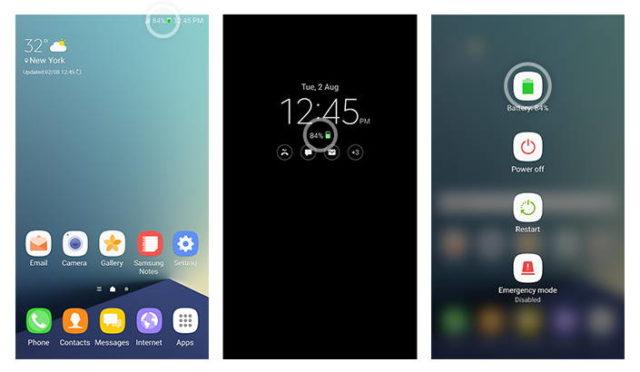 Galaxy Note 7 icono batería verde