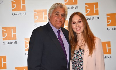Jay Leno and Guild Hall executive director Andrea Grover