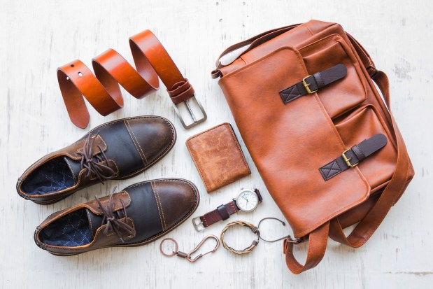Men's,Casual,Outfits,With,Leather,Accessories,On,White,Rustic,Wooden