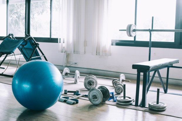 Exercise,Blue,Color,Ball,In,Fitness,,Gym,Equipment,And,Fitness