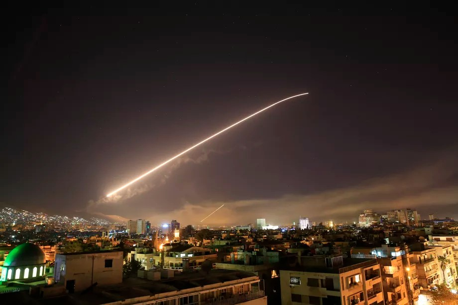 May 2018 Damascus missiles Hassan Amar:AP