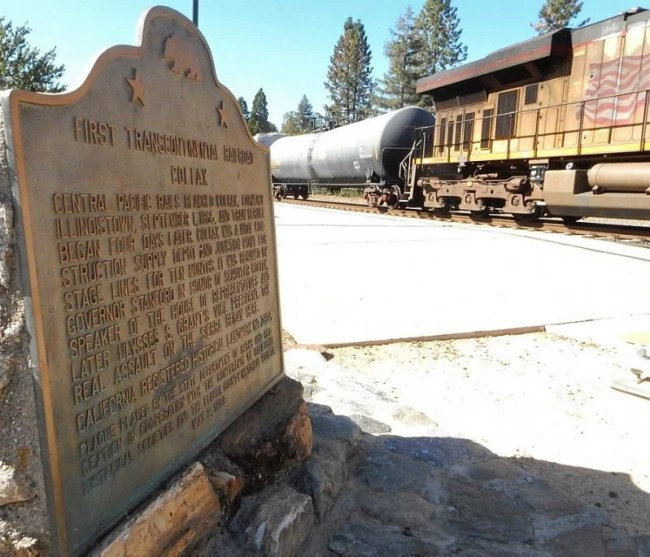 Monument of first transcontinental railroad in Colfax