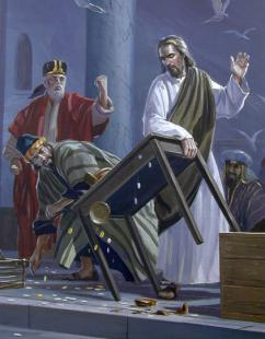 Jesus casting money lenders from the temple