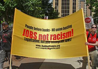On the march against racism in Madison (Wisconsin Bail Out the People Movement)