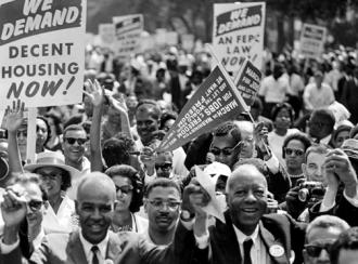 The front ranks of the 1963 March on Washington for Jobs and Freedom (National Archives)