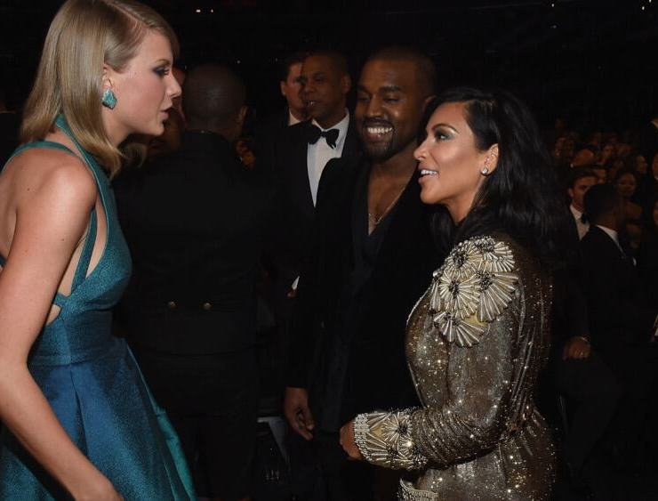 Taylor Swift and Kim Kardashian The 57th Annual GRAMMY Awards - Backstage & Audience