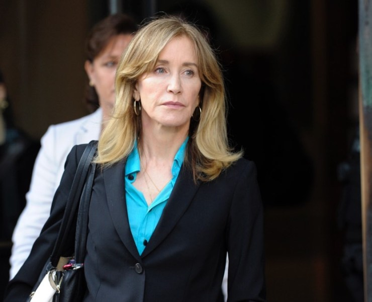 Actress Felicity Huffman exits the courthouse
