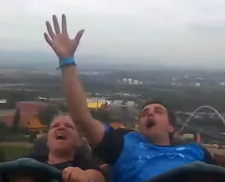 Man Catches Stranger's Phone on Roller Coaster
