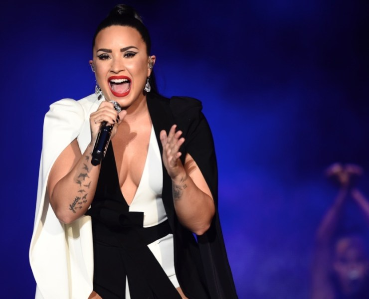 Demi Lovato performs on stage during the Rock in Rio Lisboa music festival