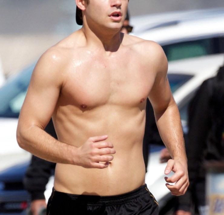Garrett Clayton goes for a shirtless run