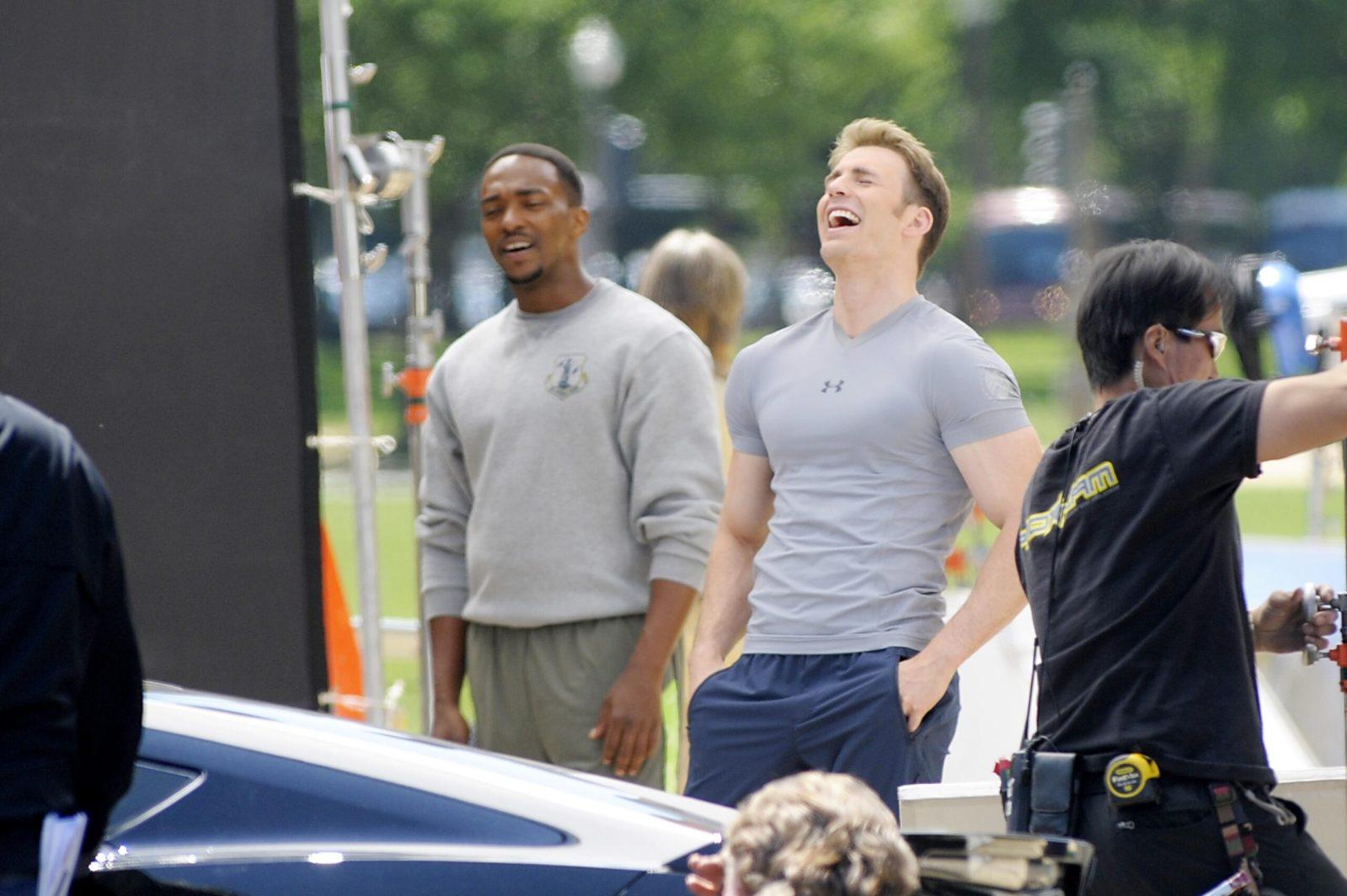 Chris Evans films Captain America