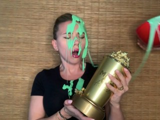 Scarlett Johansson gets slimed by Colin Jost during MTV Movie Awards speech