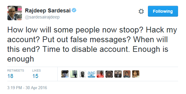 Sir Jadeja and 10 others reacted to Rajdeep SarDesai's twitter account deactivation