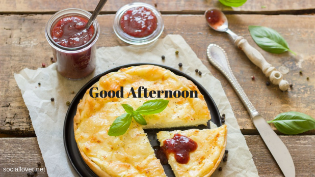 good afternoon image with food pizza