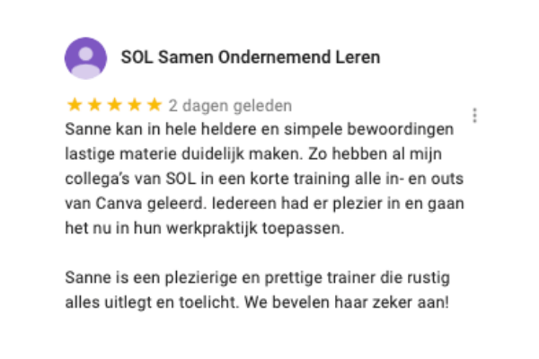 Review Canva training SOL Rotterdam SOL Leiden