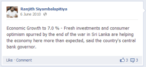 A post on Ranjith Siyambalapitiya's page.