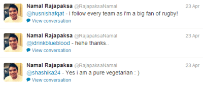 Namal Rajapakse frequently interacts with fellow twitter users.