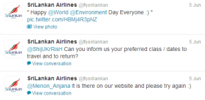 Sri Lankan Airlines' Twitter account directly replying to user queries