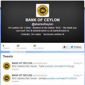 Bank of Ceylon Twitter
