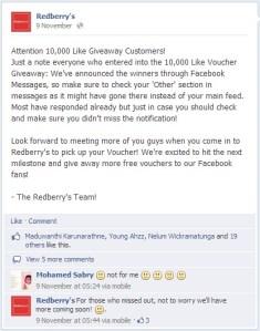 Redberry Restaurant Facebook