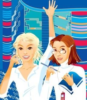 Comic Bild - zwei junge Schuelerinnen